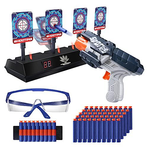OR OR TU Pistola de Juguetes para Niños Nerf Rebote Automático del Objetivo de Tiro Electrónico Efectos de Sonido y Luz,50 Dardos de Espuma,Gafas Protectoras,Regalos de Cumpleaños Niños de 6 a
