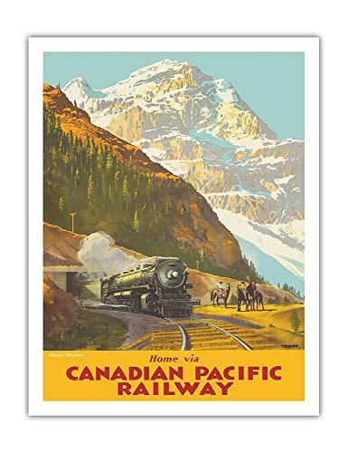 Mont Stephen, Colombie britannique - Chemin de fer Canadien Pacifique - Affiche ferroviaire de Percy Trompf c.1930s - Impression d'Art 51 x 66 cm