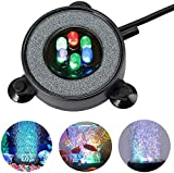 Luz redonda de burbujas para acuario, multicolor LED acuario tanque de peces disco de piedra con 6 LED que cambian de color