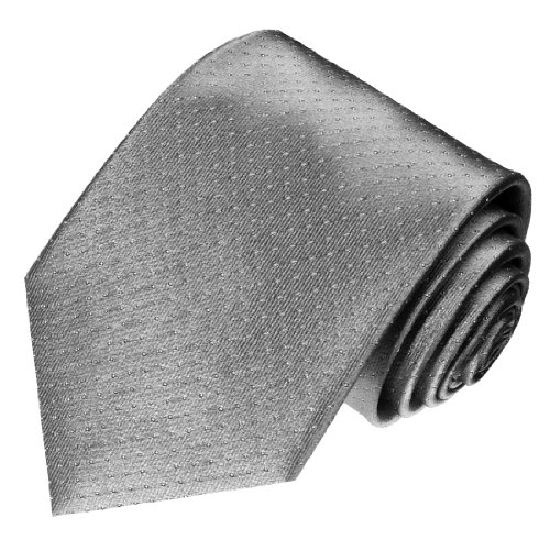 Lorenzo Cana - Luxus Krawatte aus 100{f64fefd05ec9bb56447a487c615833e6124123211cbf8f815daeedbbf7920c94} Seide Silber Grau Silbergrau Weisse Punkte - 84494