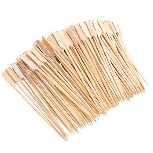 Happyyami 400 Unids/Set Brochetas de Bambú para Barbacoa Tenedor de Frutas Palillos de Cóctel de Frutas Tenedores de Extremo Contundente para El Hogar Y La Fiesta de Comida