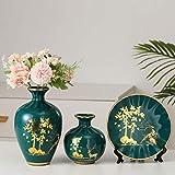MCWJ 3 Pezzi/Set Vaso in Ceramica 3D stereoscopico Fiori secchi Disposizione Piatto oscillante Soggiorno Ingresso Ornamenti Decorazioni per la casa-con Fiori Z