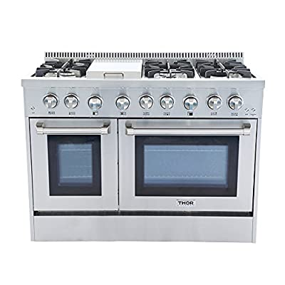 "Thor Kitchen HRD4803U 48"" Freestanding Professional Style Dual Fuel Range 6.7 cu. ft. Electric Oven 6 NP/LP Burners S tainless SteelHRD4803U (HRD4803U-LP), 48 inches, Stainless Steel"