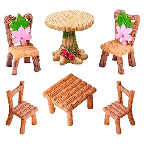 Mini mesas y sillas decoración de jardín, 6Pcs Mesas y Sillas en Miniatura Adornos de Muebles de Jardín de Hadas Mini Silla de Mesa Floral de Resina Decorativa Micro Decoración de Paisaje