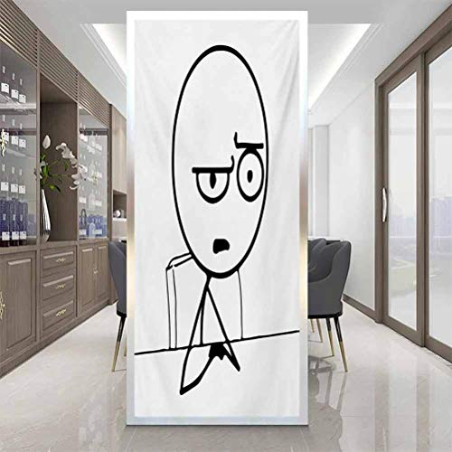 Thermal Control Anti Ultraviolet Glass Sticker, Humor So What Guy Meme Face Best Avatar WTF Icon Hipste, Home Window Tint Film Heat Control, W17.7 x H78.7 Inch