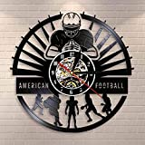 Wwbqcl Joueurs de Football Américain Horloge Murale Sport Vestiaire Décoration Murale Design Moderne Rugby Disque Vinyle Horloge Murale Football Fan Gift (Taille:12 Couleur: Noir)