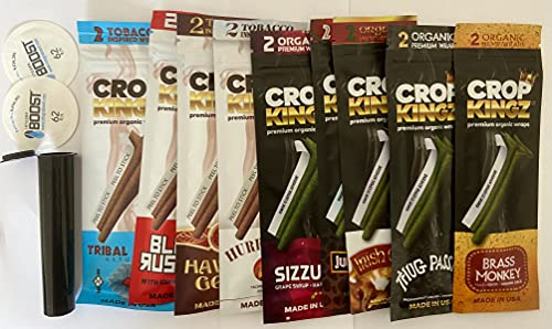 Crop kingz non-tobacco organic hemp 9 variety pack, free integra boost and tube