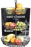 Chefarone Obst Etagere - Obstschale Metall für mehr Platz auf der Arbeitsplatte - dekorativer Obstkorb schwarz - Etageren mit Obstschalen