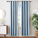 Amazon Basics - Juego de cortinas que no dejan pasar la luz, con ojales, 140 x 245 cm, Azul (Spa Blue)