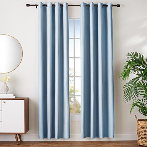 AmazonBasics - Juego de cortinas que no dejan pasar la luz, con ojales,  245 x 140 cm, Azul (Spa Blue)