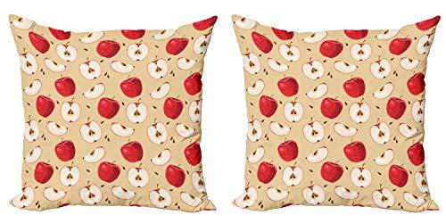 ABAKUHAUS Frutas Set de 2 Fundas para Cojín, Rebanadas de Fruta Fresca Pie, con Estampado en Ambos Lados con Cremallera, 50 cm x 50 cm, Crema Rojo Beige