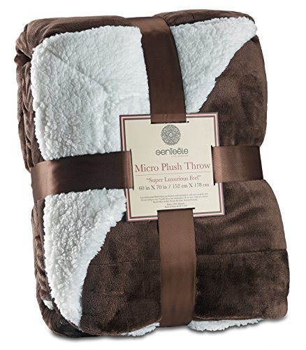 Genteele Sherpa Throw Blanket Super Soft Reversible Ultra Luxurious Plush Blanket (50 inches x 60 inches, Brown)