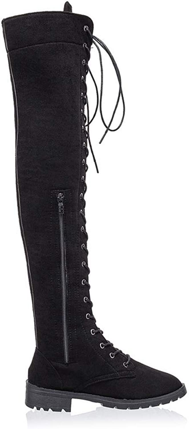 T-JULY Women's Over The Knee Boots Lace up Cross-Tied Platform shoes High Boots Flat Heel Boots