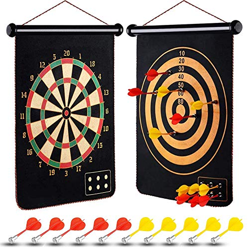 meidong Magnetic Dart Board, 2 Sided Roll Up Dartboard, Indoor Outdoor Games for Teenagers, Adults and Kids Magnetic Darts, Easily Hangs Anywhere