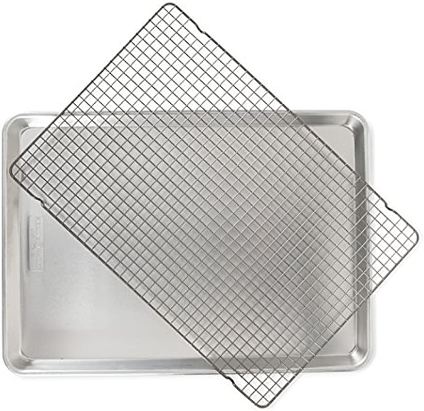 Nordic Ware 44612 2 Pc Naturals Big Sheet W Oven Safe Nonstick Grid 2 Piece Set Aluminum