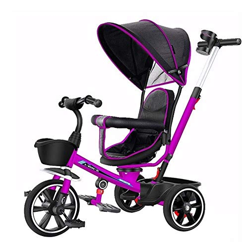 Tricycle 4 in 1 Kids Bicycle Light Kid Stroller Multifunction with Foot Pedal 1/3/2/6 Year Old Kids Car Best Choice for (Color : Purple)