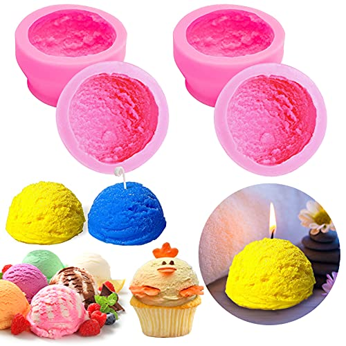 Silicone 3D Ice Cream Ball Shape Molds/ Candle Molds Silicone/ Large Round Soap Mold for Aromatherapy Candle Making, Homemade Soap, Bath Bomb, Beeswax