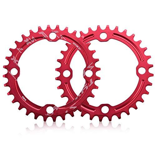 Alomejor Fahrradkettenring 32/34/36 / 38T BCD 104 Mountainbike Stahl Einzelkurbel Kettenblatt Reparatur Teile Kettenblätter für Outdoor Radfahren(32T-Rot) - 2