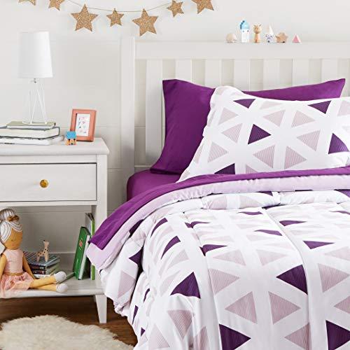 Amazon Basics - Pflegeleichtes, superweiches Mikrofaser-Bettwäsche-Set für Kinder, Doppelbett, lila Dreiecke