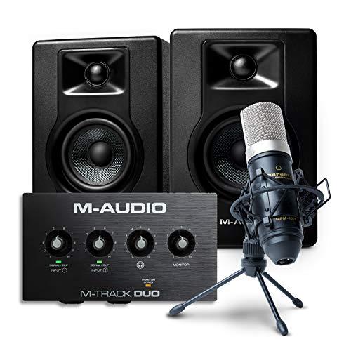 Paquete para grabación, streaming y pódcast de M-Audio: interfaz de audio USB...
