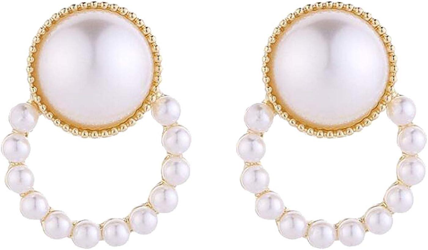 Retro Clip on Earrings for Women Girls Baroque Earrings Simulated Pearl Wreath Dangle Drop Non Pierced