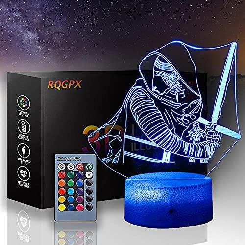 Lámpara de ilusión LED 3D Star Wars lámpara de ilusión óptica Darth Vader una lámpara de juguete inteligente USB carga mesa escritorio dormitorio salón decoración interior con control remoto