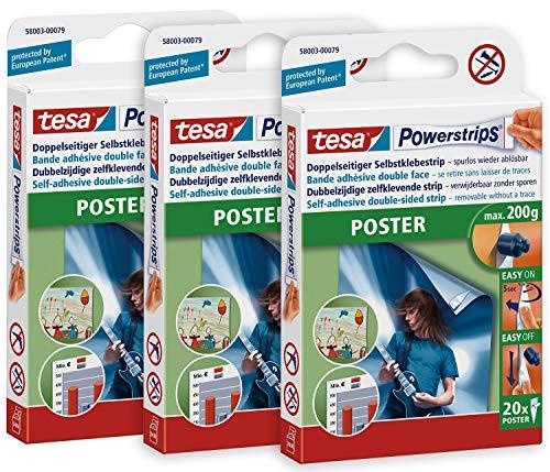 tesa 58003 3er Pack-Doppelseitige Klebestreifen für Poster und Plakate-Selbstklebend und mehrfach verwendbar-Bis zu 200 g Halteleistung-insgesamt 60 Powerstrips, Weiß