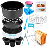 Air Fryer Accessories 14 PCS for Ninja Phillips Gowise Gourmia Dash Power XL Air Fryer, Fit 3.2-4.2-5.8QT Air Fryer with 7 Inch Cake Pan, Pizza Pan, Silicone Baking Cup, Skewer Rack, Parchment Paper