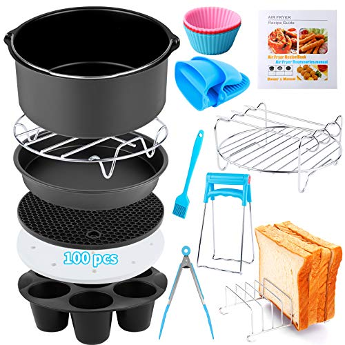 Air Fryer Accessories 14 PCS for Ninja COSORI Gowise Gourmia Dash Power XL Air Fryer, Fit 3.6-4.2-6.8QT Air Fryer with 8 Inch Cake Pan, Pizza Pan, Silicone Baking Cup, Skewer Rack, Parchment Paper