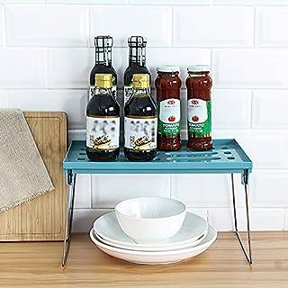 Qisiewell Étagère de cuisine empilable Vert Étagère de rangement pliable pour assiettes, canettes et épices