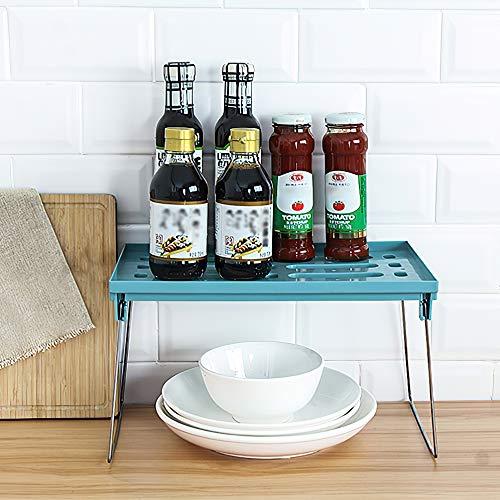 Qisiewell Estante de Cocina Inserto de Estante Verde apilable Cocina Plegable Estante de Armario Organizador de Cocina para Platos y Suministros para Platos, latas y Especias