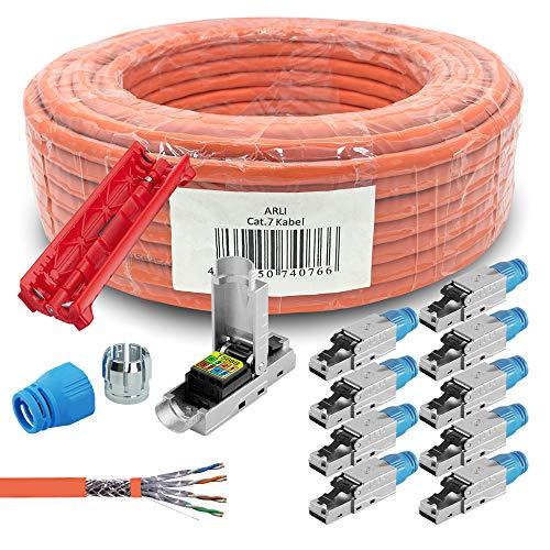 ARLI CAT 7 Verlegekabel 100 m Netzwerkkabel + 10x RJ45 Netzwerkstecker CAT8.1 Werkzeuglose Montage + Kabelmesser LAN Halogenfrei Installationskabel Kabel Netzwerk Stecker Datenkabel geschirmt 100 m