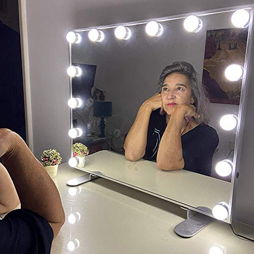 Melur Espejo De Maquillaje Hollywood, Profesional Espejo de Tocador con Luz LED Táctil Inteligente Espejo Cosmético con 14 Piezas Bombillas Brillo de 3 Modos De Color (Blanco)