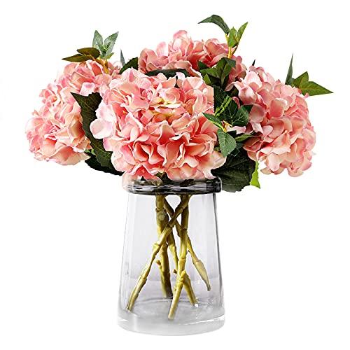 3 piezas de hortensias artificiales hortensias con tallos flores de hortensias de seda falsas flores de imitación para bodas, ramos de novia, decoración de oficina en casa, arreglos florales Pink