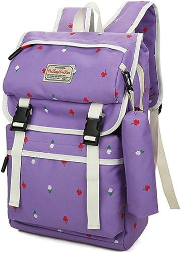 Canvas Schultasche Multifunktionsrucksack Nette Blaume, die 2 PC-Teenager-mädchen-Jungen-Rucksack-Sätze 2 in 1 Laptop-Beutel-Studenten-Rucksack-Umh etasche-Geldbeutel-beil ige Schule Bookbag-Segelt