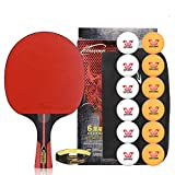 NANZHU Ping Pong Table Raquette Raquette De Tennis De Table Fini Beat Single Beat Tennis De Table Cross-Shoot Colle Double Face Adapté Aux Débutants Amateurs De Tennis De Table