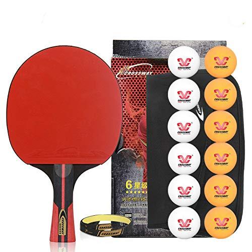 NANZHU Ping Pong Ping-Pong Mesa Pala Raqueta De Tenis De Mesa Terminado Ritmo Único Ritmo Tenis De Mesa Cross-Shoot Pegamento De Doble Cara Adecuado para Principiantes Aficionados Al Tenis De