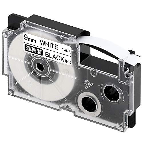 ネームランド 強粘着テープ 白 XR-9GWE [黒文字 9mm×5.5m]