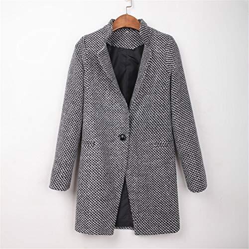 Male god Abrigo de otoño e invierno para mujer elegante abrigo para mujer con cuello descubierto gris para invierno (tamaño grande: grande)