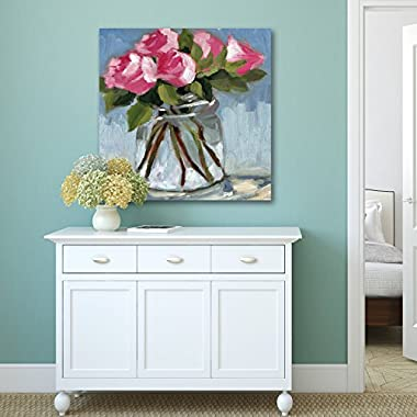 Portfolio Canvas Decor  Pink Roses In Jar Soft  Azra Iqbal Stretched & Wrapped Canvas Wall Art, 20  x 20