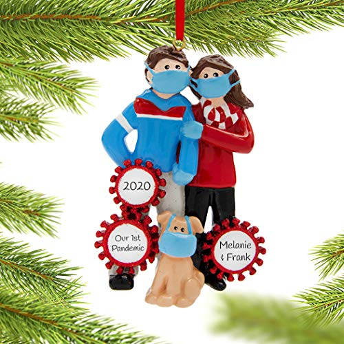 Personalized Quarantine Pandemic Christmas Ornament - Couple with Dog Ornament