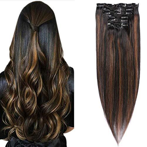 Remy Haarverlängerung Echthaar Clip in HaarverlängerungenNatural Black Chestnut Brown Highlight Schwarz 120g Vollkopf Straight Soft Extension (1BT6) P1B 14Zoll/35cm