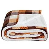 SOCHOW Buffalo Plaid Sherpa Fleece Throw Blanket, Double-Sided Checkered Super Soft Luxurious Bedding Blanket 60 x 80 inches, Orange