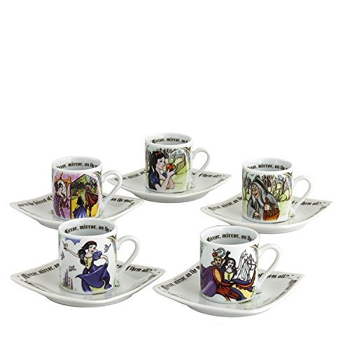 Cardew Design Snow White Tea Party Cup & Saucer (Set of 5), 3 oz, Multicolor
