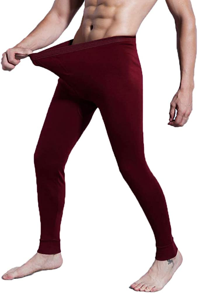 Men's Light Weight Thermals Pants Underwear Soft Long Johns Thin Pyjama Trousers 01Wine Red 3XL