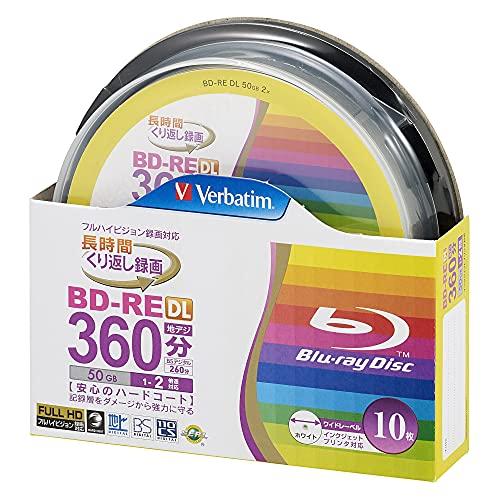 Verbatim - Dischi Blu-Ray BD-RE DL, a doppio strato, riscrivibili, da 50Gb, velocità di scrittura 2x, confezione da 10 unità, stampabili