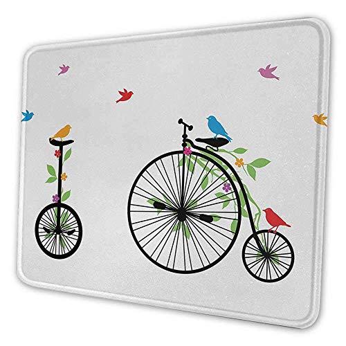 Ergonomisches Fahrrad-Mauspad fliegende Vögel und Blumen auf alten Einzelrad-Fahrrädern Glücks- und Freudepedale grafisches Mauspad für Frauenbüro mehrfarbig