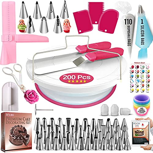 RFAQK 200 PCs Cake Decorating Supplies Kit for Beginners -1 Cake Turntable Stand with Piping bags & Tips -2 Spatula -Cake Leveler & Icing Smoother-55 Piping tips -Baking tools - 20 Cupcake liners