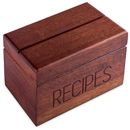 Apace Living Sapele Rezeptbox mit Karten und Teilern von Apace - Vintage Style Holz 4x6 Rezepthalter Kartenbox - Exklusiv Premier Kollektion - Für 240 Karten