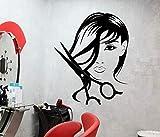 Ajcwhml Calcomanías de Pared para salón de Belleza para niña, Tijeras de peluquería, Pegatinas de Vinilo para Cortar el Cabello, peluquería, Glamour extraíble para Mujer - 54X67CM-54X67CM